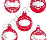 PRINTABLE Red ornament Gift tag/Labels, Christmas tag Printable, Packaging supplies, Tags,  Labels