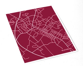 Blacksburg Map City Art Print / Virginia Tech University Wall Art / 8x10 / Custom Colors