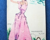 Vintage 50s French Magazine Modes & Travaux with Fashion Sewing and Ladies Hat Diagram Patterns June 1953