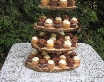 Cupcake Stand Rustic Wedding Log Slices 4 Tier