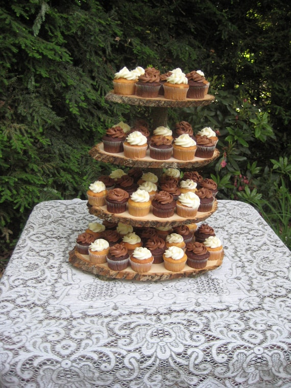 rustic wooden wedding cake stand cupcake stand rustic wedding log slices 4 tier 19593