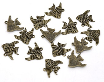 Bronze Goldfish Charms Antique Fish Pendant - 21x19mm - 8pcs - Ships IMMEDIATELY  from California - BC280