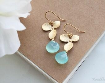 Orchid & Aqua Blue Chalcedony Earrings