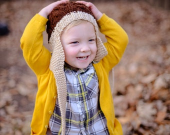 Kids Hat Knitted Childrens Crochet Beanie Tan Cable Knit Boys Girls Unisex Toddler Earflap Ski Hat