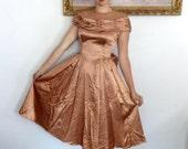 Vintage Goegous 40's Liquid Satin Party Dress