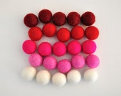 Valentine Felt Balls, Valentine's Day Felt Ball Set, 25 Pieces Wool Felt Balls
