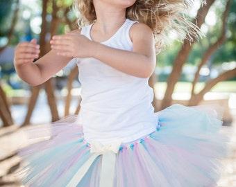 "Aqua, light pink & ivory ""Alena"" tutu Newborn tutu baby tutu photo prop birthday tutu skirt 3 months 6 months 9 months 12 months  18 months"