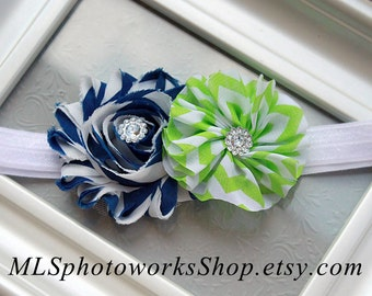 Free Shipping - Navy, Lime and White Baby Girl Headband - Bright Summer Green Chevron & Dark Navy Flower Combination Hair Bow