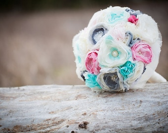 Fabric Flower Bouquet, Bridal Bouquet, Vintage Wedding Bouquet, Heirloom Brooch Bridal Bouquet, Alternative Bouquet, Custom Colors