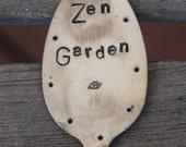 ZEN GARDEN hand stamped Garden Art Marker Vintage Spoon