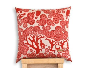 Mikko Square - Screen printed Mikko and Eco Denim cushion cover.