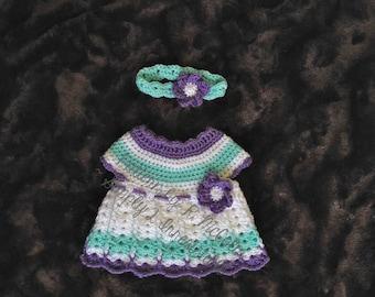 The Abigail Newborn Dress and Headband Pattern - Newborn - Crochet PATTERN 72 - Instand DOWNLOAD