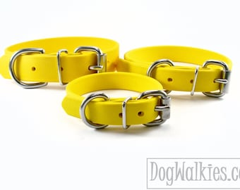 """Sunflower Yellow Biothane Dog Collar - 5/8""""(16mm) wide - Leather Look and Feel - Small Dog Collar - Stainless Steel or Solid Brass Hardware"""