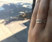 Set of 3 Rings, Rope Textured Infinity Twist and 2 Thick 16g Hammered or Smooth Bands, Sterling Silver Stacking Rings, custom made to order
