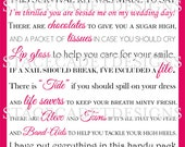 INSTANT Download - Custom Printable Bridesmaid Survival Kit Digital File