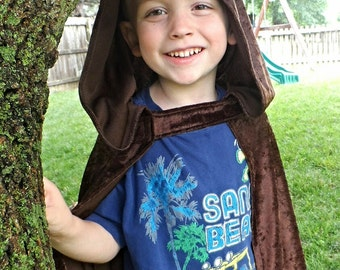 "Fancy Hobbit Lord of the Rings Brown Hooded Cape Cloak 27"" Robin Hood Prince Charming Woodland Fairy Magician Wizard Dress up"