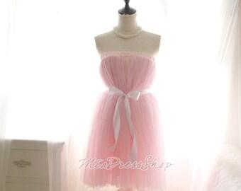 Sweetheart Dreamy Ballerina Baby Pink Tutu Tulle Puff Skirt Dress Sash,Beautiful,Grace Kelly,Women's Fashion Clothing,Lolita Great Gatsby