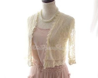 SUMMER CLEARANCE SALE  - Cream Beige French Lace Crop Jacket Shawl Sheer Sleeves,Ballerina wedding beloro Boho Long Island Beach walk