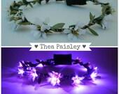 Light up flower crown EDC Daisy LED Halo in Purple headband