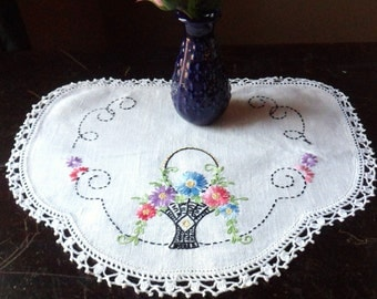 Embroidered Doily with Crocheted Edge, Chair Back Doily, Emboridered Basket of Flowers Doily