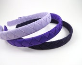 Purple Headband SET - Lavender - Dark and Light Purple - Ribbon Woven - Toddler Teenager Adult - Fits All Ages - Hair Accessory