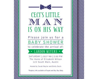 Little Man Invitation, Bow Tie Baby Shower Invitations, Navy and Green, Printable or Printed
