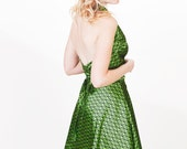 Emerald Green Halter Wrap Backless Cocktail Dress with Circle Skirt