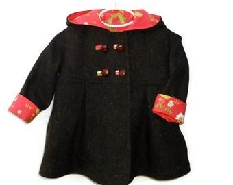 Toddler Girls Winter Swing Coat, Custom Designed Outerwear, Children's Jacket, Girls Dress Coat