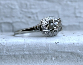 Vintage Floral 14K White Gold Diamond Engagement Ring - 0.71ct.