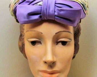 Vintage spring hat, 1950's flowered satin hat with lilac bow