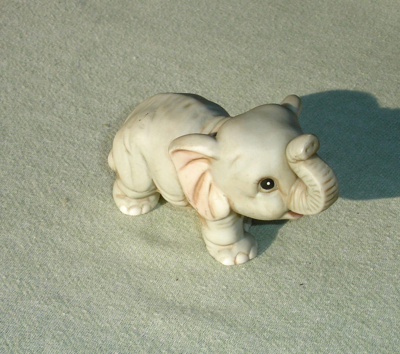 Vintage Baby Porcelain Elephant Figurine By Harmoneescreations