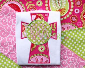 Monogram Cross Embroidered Shirt - Cross Shirt - Cross Monogram - Flower Cross - Girly Cross Monogram - Easter - Cross - Cross Monogram