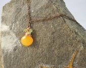 MOTHERS DAY MOTHERS Day Copper necklace made with an orange creamsicle calcedony briolette & peridot stones. Holiday, Christmas, Gift, Green
