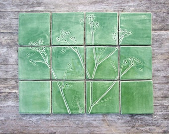 Green ceramic tiles, 12 Handmade cow parsley tiles, Queen Anne's lace botanical tiles, kitchen, bathroom, rest room