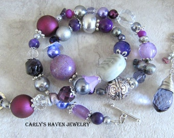 Handmade purple, gray, and silver chunky beaded necklace with detachable dangles, ready to ship, gifts for women, free gift wrap, made in MT