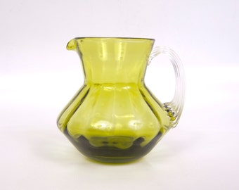 Vintage Olive Green Glass Creamer Clear Applied Handle Hand Blown Pitcher Bulbous Body