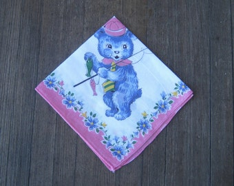2 Vintage 1950s Hankies: Little Bear Schoolboy Hankie + Candy Pink Blue Rose Hankie~'50s Child Novelty Gift Hankie~Free Ship/U.S.