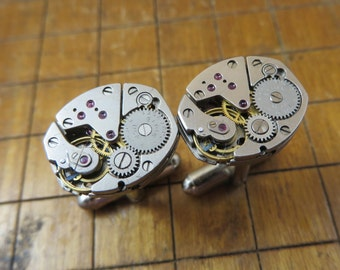 Elgin Watch Movement Cufflinks. Great for Fathers Day, Anniversary, Groomsmen or Just Because.  #744