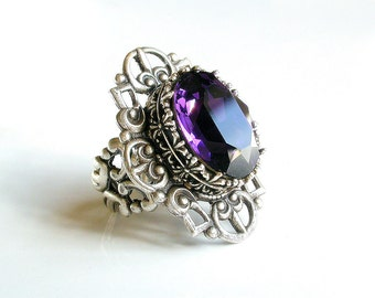Gothic Ring Purple Swarovski - More Colors - Victorian Gothic Jewelry