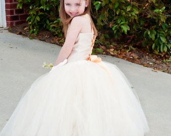 Flower Girl Tutu Dress Floor Length Sewn Tutu Dress in Ivory and Champagne  Satin Corset and Flower Hair Clip CUSTOMIZABLE
