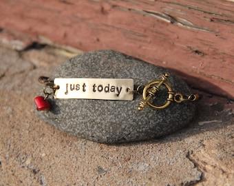 Just Today Handstamped Bracelet--Silver Finish