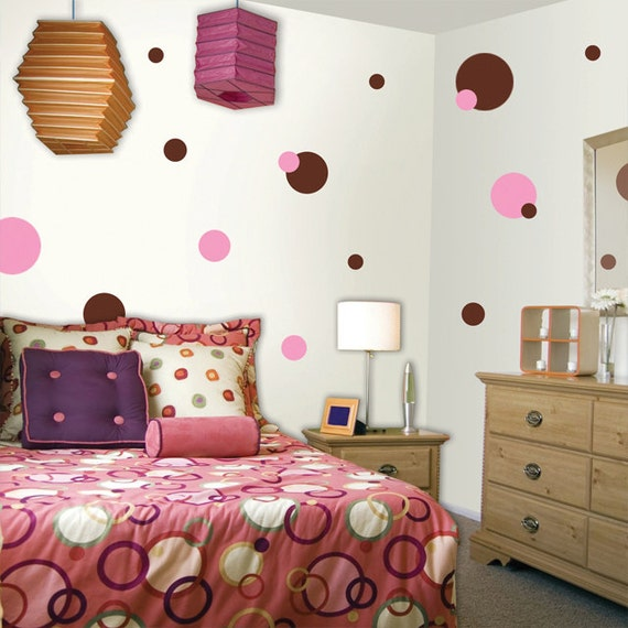 Pink brown polka dot wall decals for girls room walls for Girls bedroom paint ideas polka dots