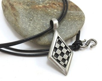 Chess Necklace, Chess Board Jewelry - Silver Checker Board Pendant with Leather Cord