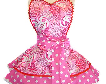 "Exclusive ""Lollipop Twist"" Made-To-Order  Apron Pinup Diner-Only from Tie Me Up Aprons"
