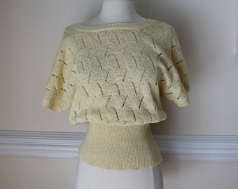 Knitted, Cropped Style, Yellow Sweater, Yellow, Crocheted, Semi Sheer Sweater