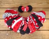 Fabric Tutu, TEA WITH , Minnie birthday, red tutu, minnie halloween costume, Mouse fabric tutu, minni birthday tutu