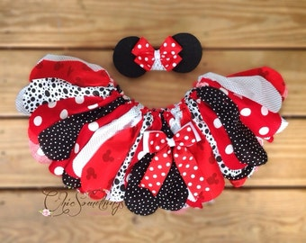 Mouse tutu, mouse birthday, red mouse tutu, mouse halloween costume, Mouse fabric tutu, baby mouse birthday tutu, red mouse tutu UD