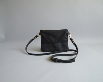 Cross Body Canvas Bag Leather Pocket Bag  LITTLE IONA Small Lightweight  Adjustable Shoulder Travel Messenger Bag Purse by Jeanie Deans