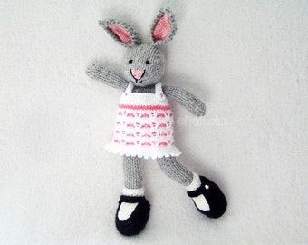 Knitted Toy Stuffed Animal - Knitted Bunny - Hand Knit Toy - Knitted Rabbit - Kids Easter Bunny Waldorf Toy - Hand Knitted Animal - JASMINE