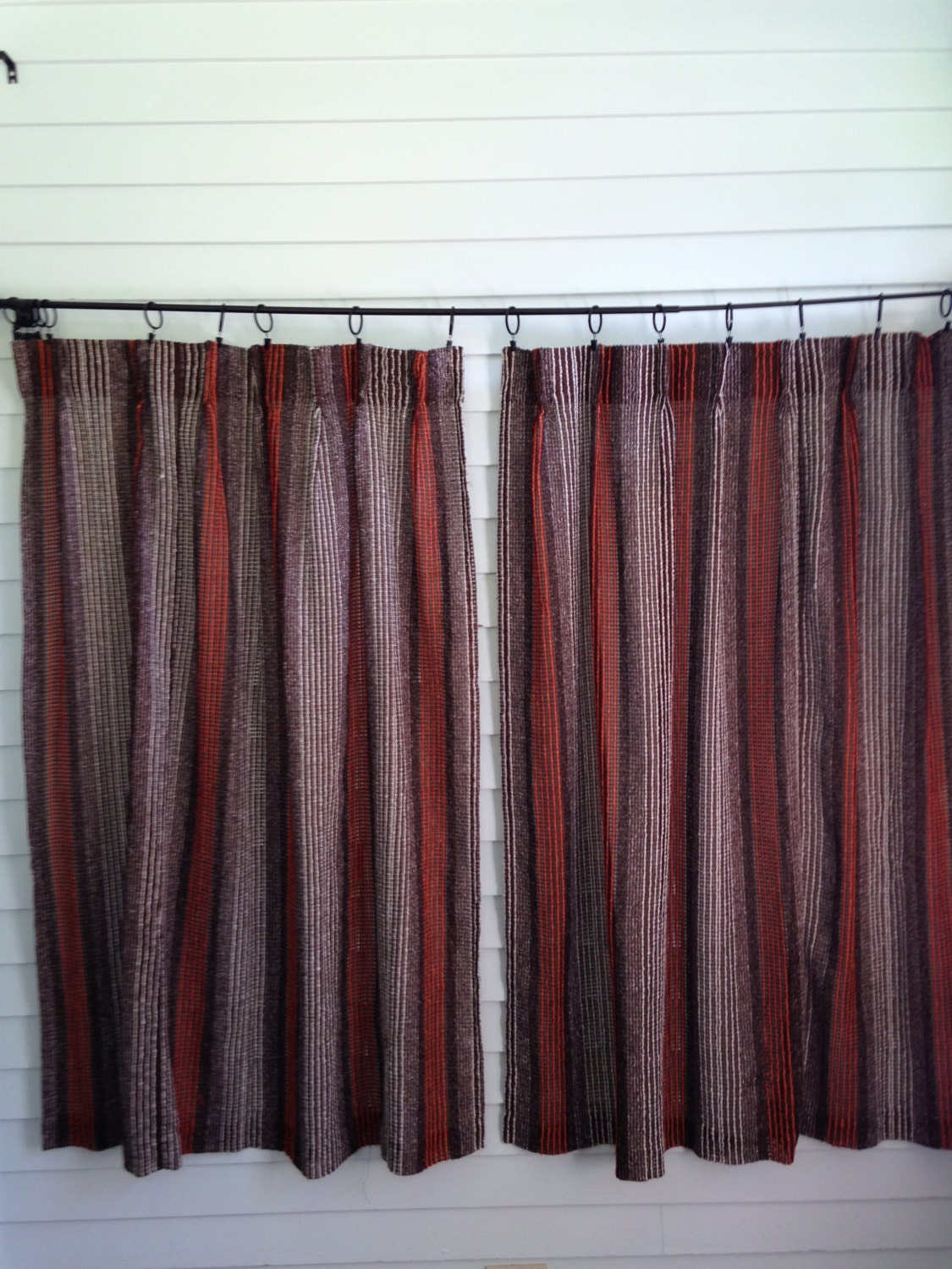 Vintage Brown Sheer Curtains Brown Orange White Curtain